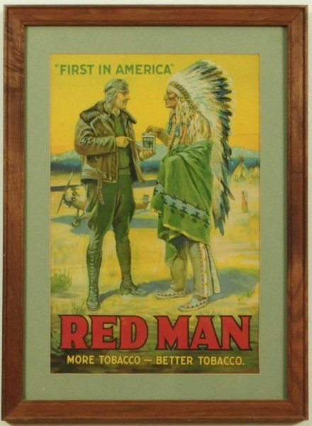 16: Red Man Tobacco Airplane Lithograph Poster