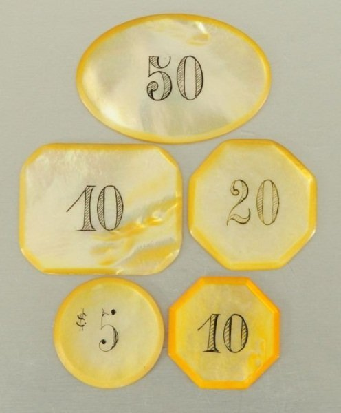 25 Antique Mother of Pearl Poker Chips - 2