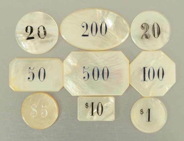 25 Antique Mother of Pearl Poker Chips - 3