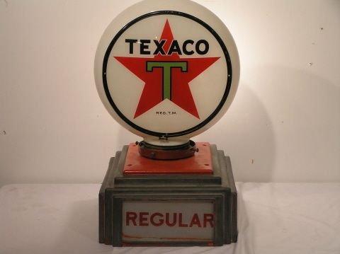 7:Vintage Original Texaco Glass Globe Gas Pump Topper