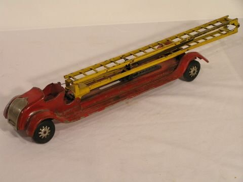 36: Kinsbury Vintage Pressed Steel Toy Fire truck