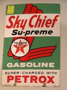 4: Vintage Texaco Sky Chief Porcelain Pump Sign
