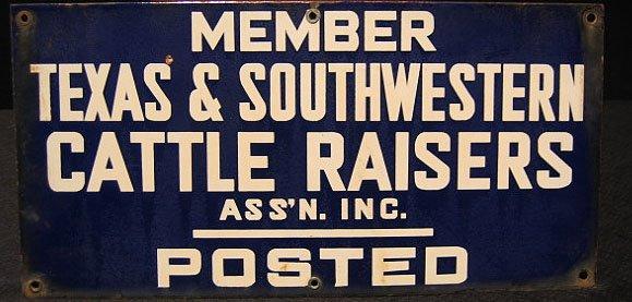 2: Porcelain Sign Texas Cattle Raisers Assoc.