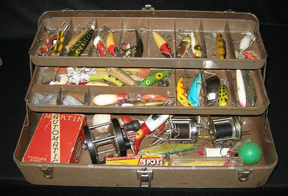 3: Tackle Box Full Of Wooden Glass-eyed Lures
