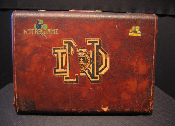 6: Pair Of Leather Suitcases With Notre Dame Decals