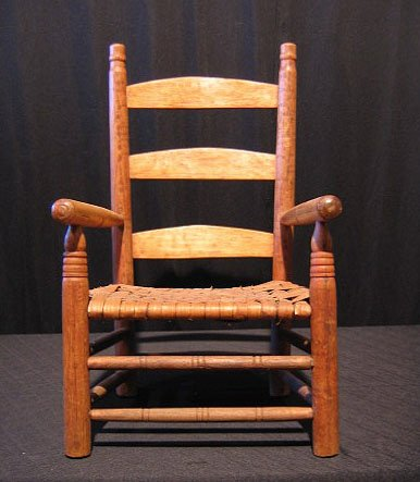 11: Child's Slat Back Chair With Wicker Seat