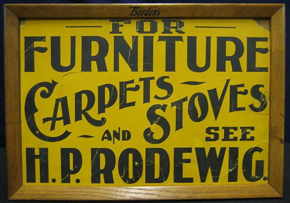 12: Cardboard Furniture Sign With Bordens Frame