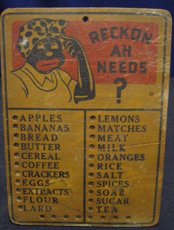 13: Black Americana Aunt Jemima Grocery Board