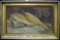 36: Oil On Canvas Folk Art Still Life Yellow Fish