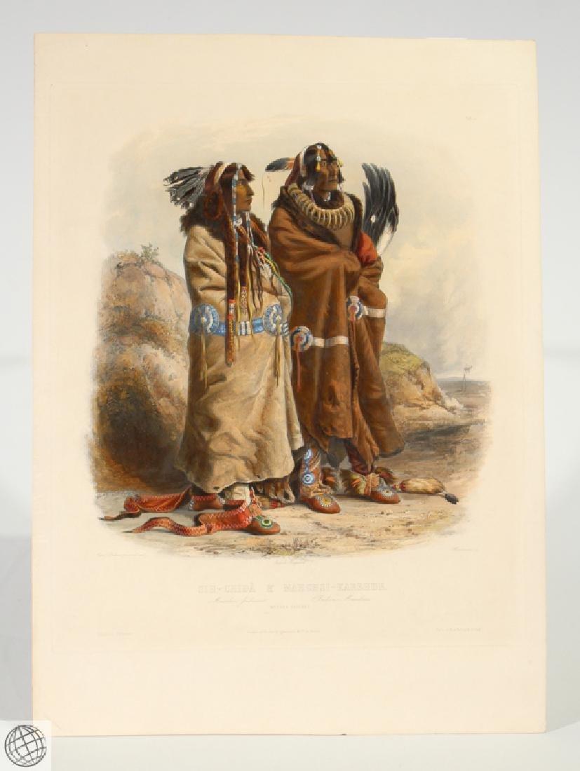 Mandan Indians KARL BODMER Hand Colored Aquatint