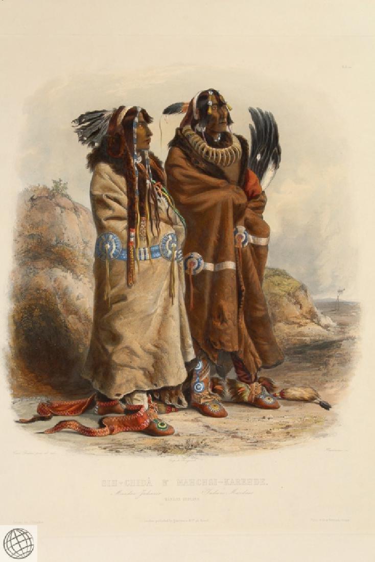 Mandan Indians KARL BODMER Hand Colored Aquatint - 2