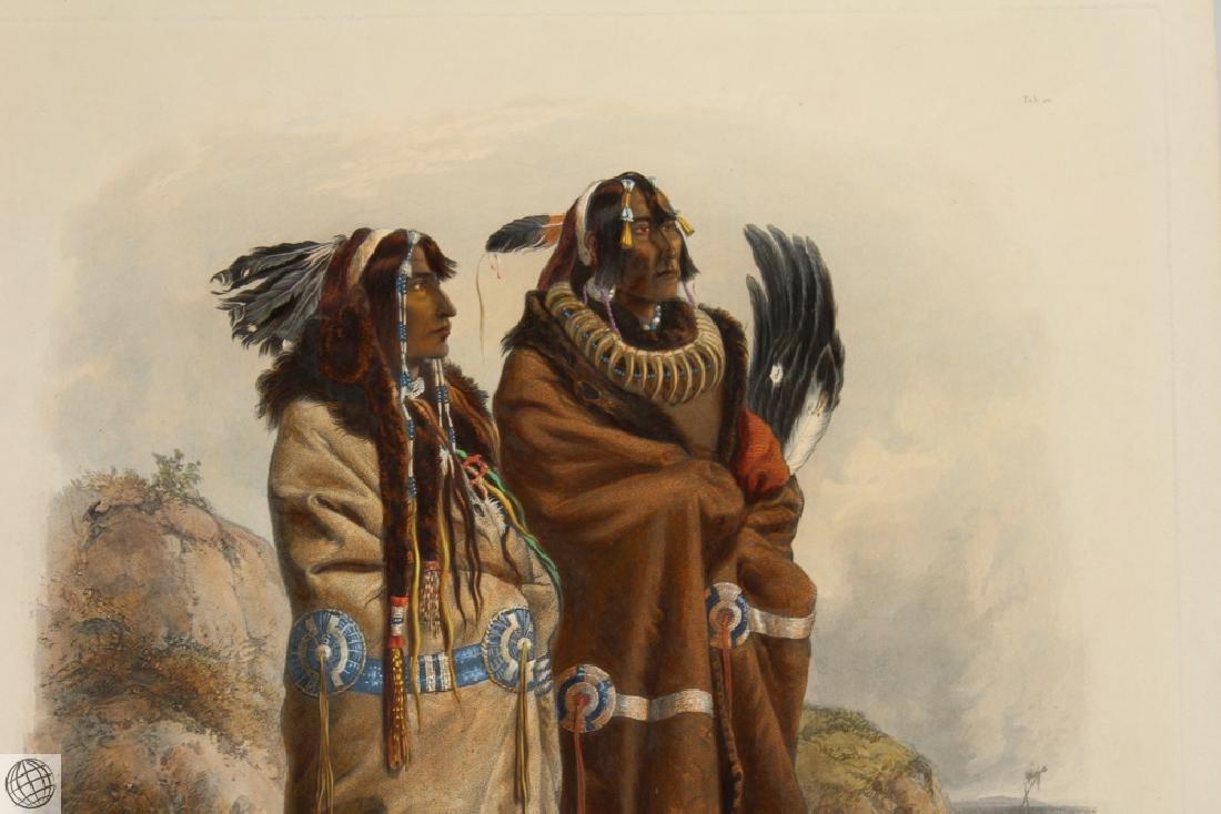 Mandan Indians KARL BODMER Hand Colored Aquatint - 3
