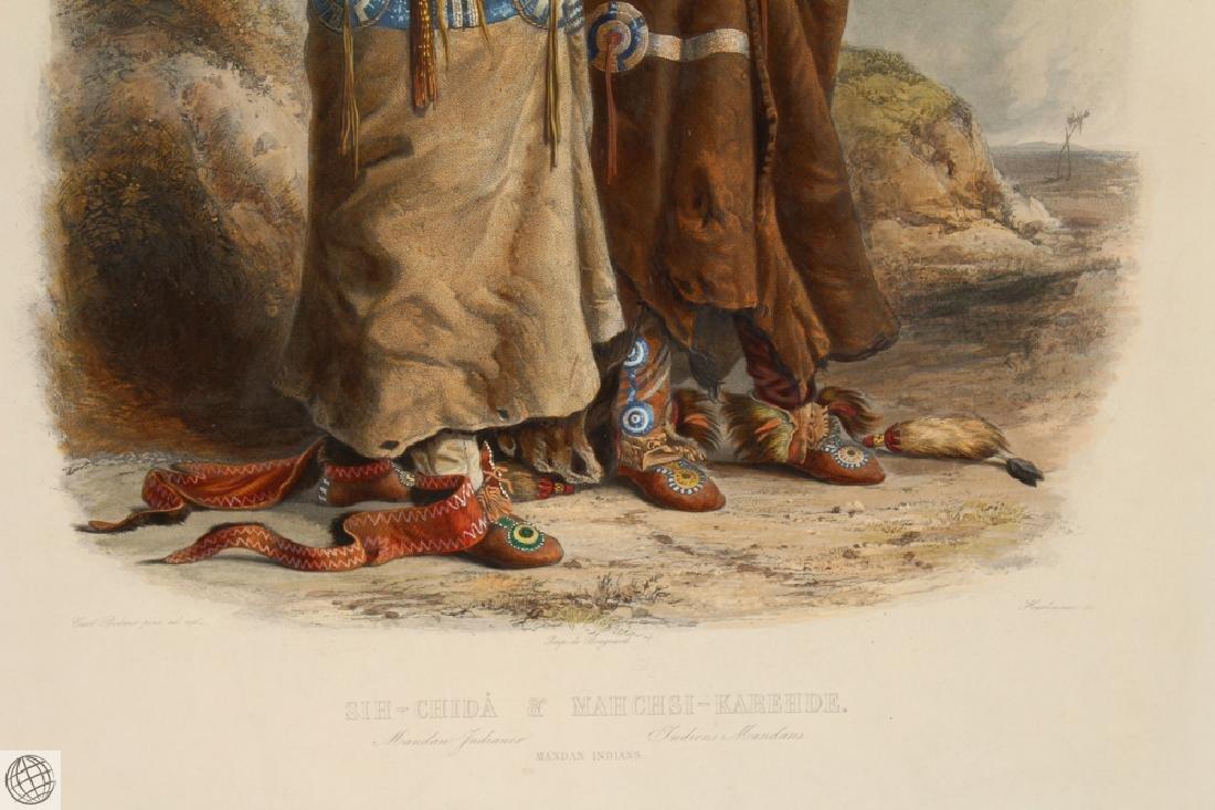 Mandan Indians KARL BODMER Hand Colored Aquatint - 4