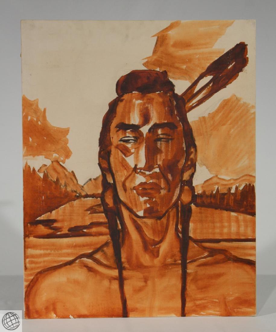 Indian Head GERDA CHRISTOFFERSEN Gouache 1955 Alberta