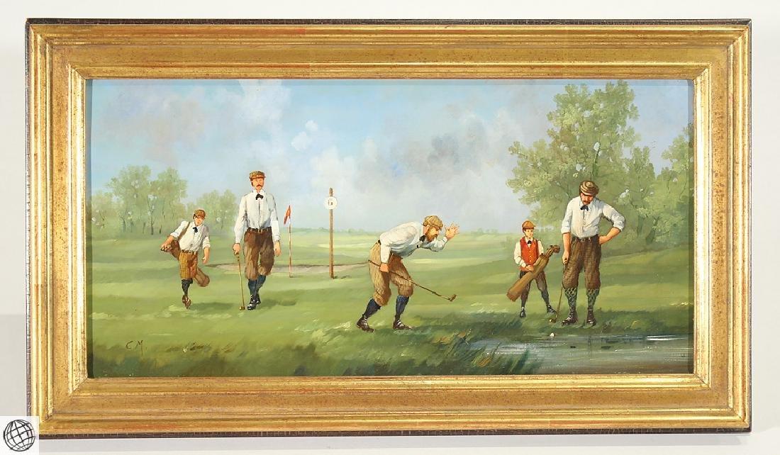 English Golf MARCO CERI Edwardian Tennis Match Oil