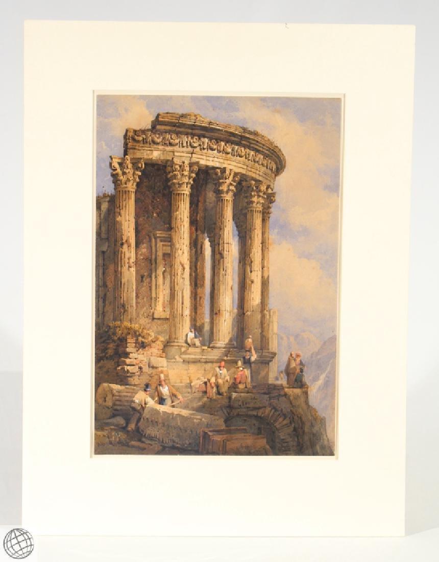 Tivoli Temple Of Vesta SAMUEL PROUT Signed Watercolor