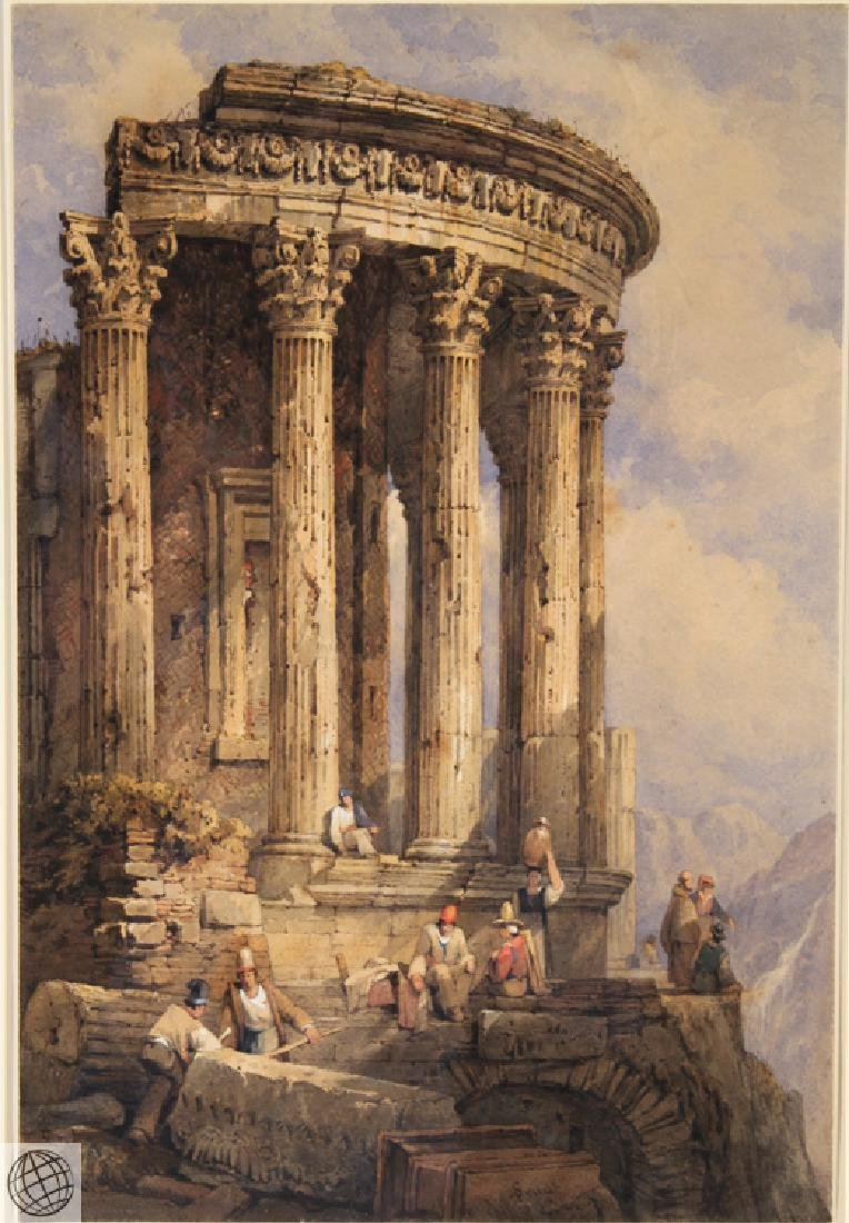 Tivoli Temple Of Vesta SAMUEL PROUT Signed Watercolor - 2
