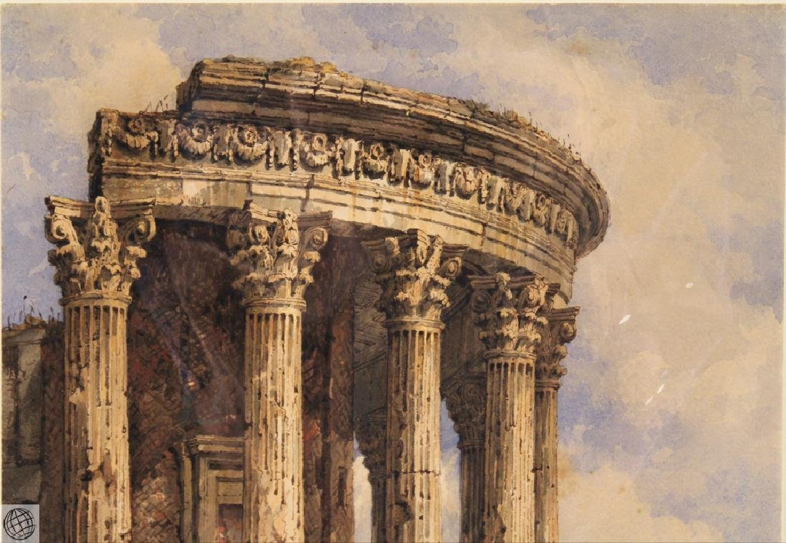 Tivoli Temple Of Vesta SAMUEL PROUT Signed Watercolor - 3