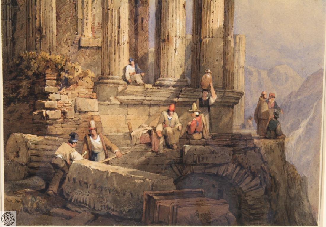Tivoli Temple Of Vesta SAMUEL PROUT Signed Watercolor - 5