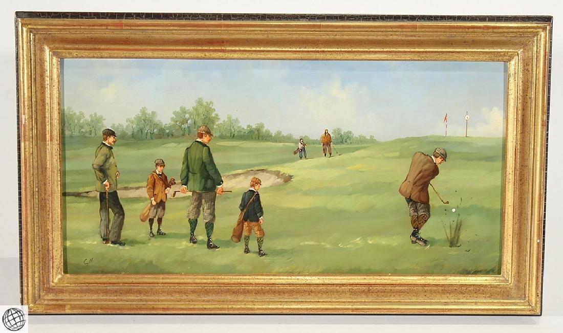 Sporting Art MARCO CERI Edwardian Golf Game Oil Copper