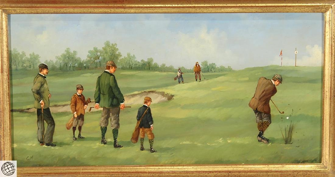 Sporting Art MARCO CERI Edwardian Golf Game Oil Copper - 2