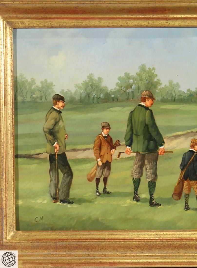 Sporting Art MARCO CERI Edwardian Golf Game Oil Copper - 3