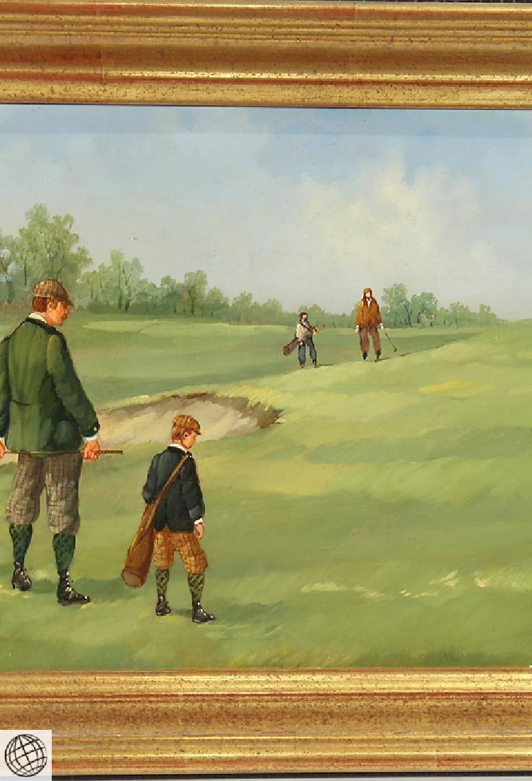 Sporting Art MARCO CERI Edwardian Golf Game Oil Copper - 4