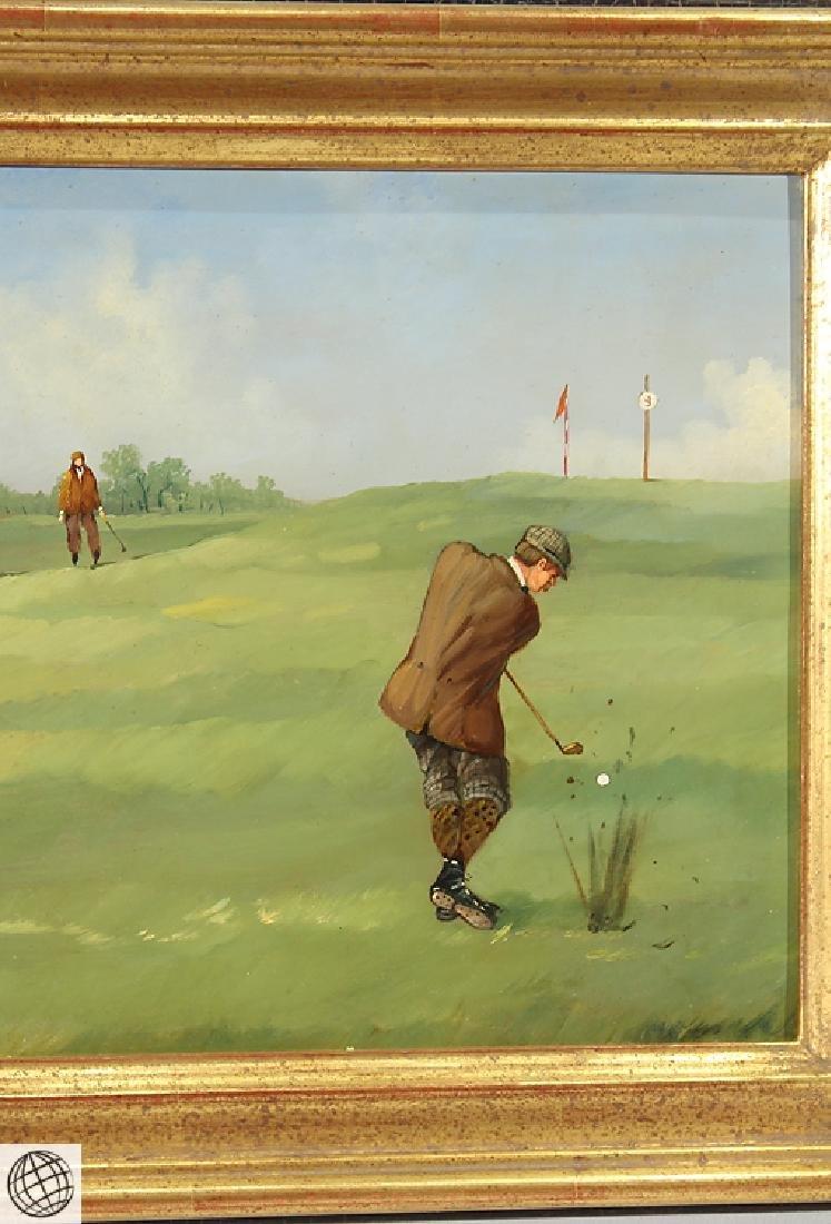 Sporting Art MARCO CERI Edwardian Golf Game Oil Copper - 5
