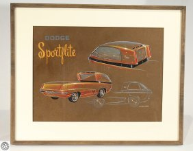 Dodge Sportfire Concept Art WILLIAM A. MOORE Watercolor