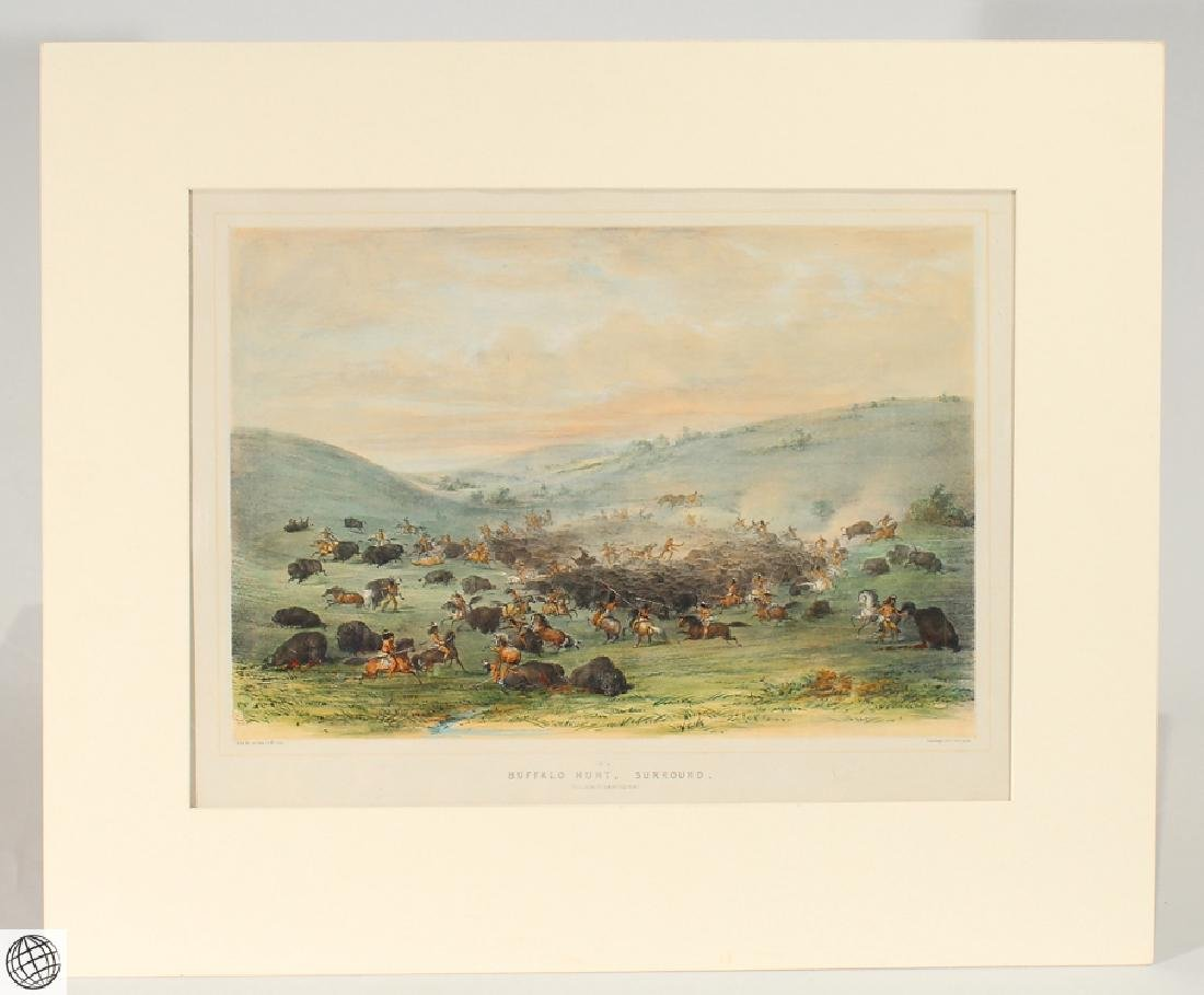 Buffalo Hunt A Surround GEORGE CATLIN Tinted Lithograph