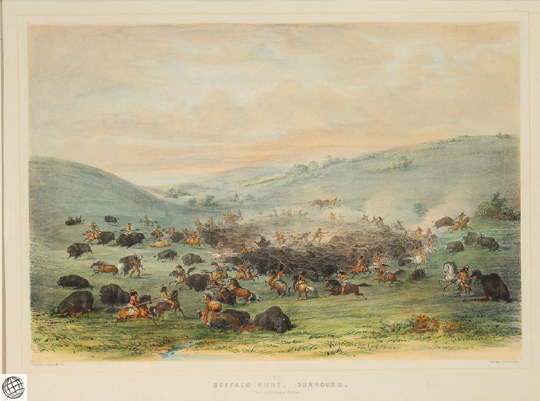 Buffalo Hunt A Surround GEORGE CATLIN Tinted Lithograph - 2