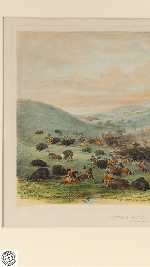 Buffalo Hunt A Surround GEORGE CATLIN Tinted Lithograph - 3