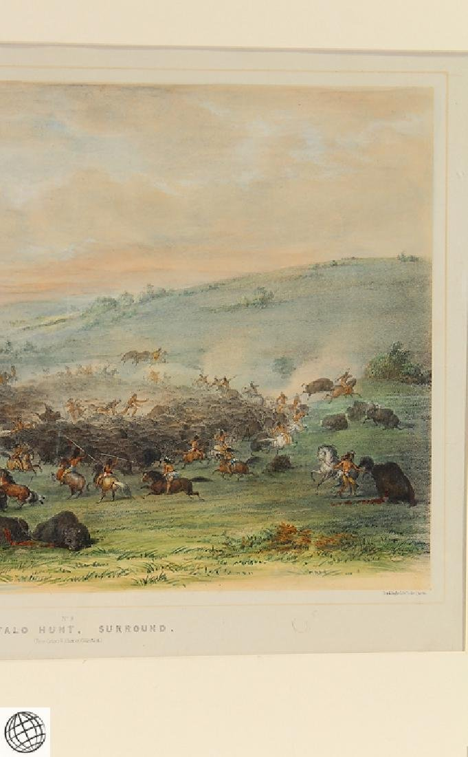 Buffalo Hunt A Surround GEORGE CATLIN Tinted Lithograph - 4
