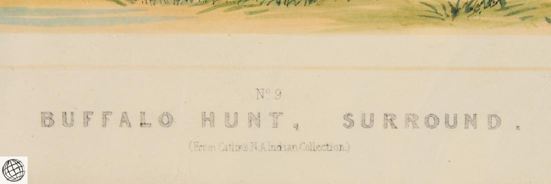 Buffalo Hunt A Surround GEORGE CATLIN Tinted Lithograph - 5