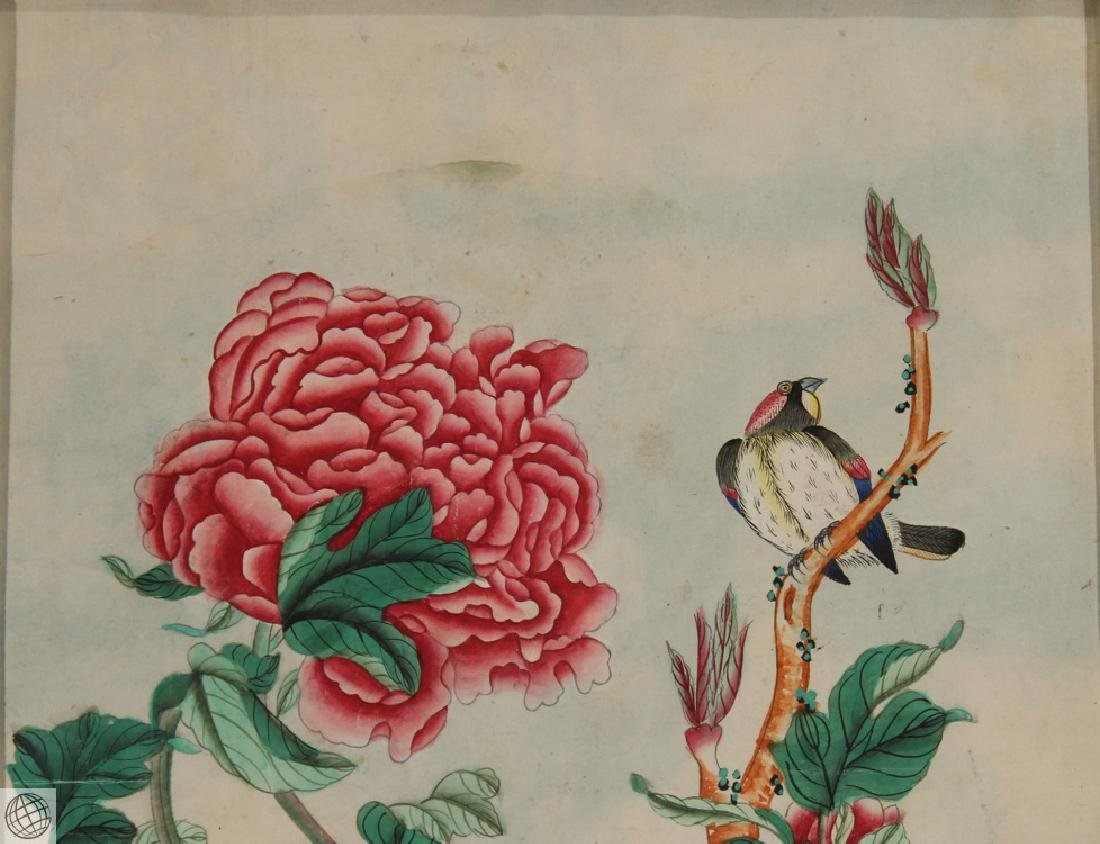 Peony Bird COMPANY SCHOOL China Chinese Pen Ink - 3