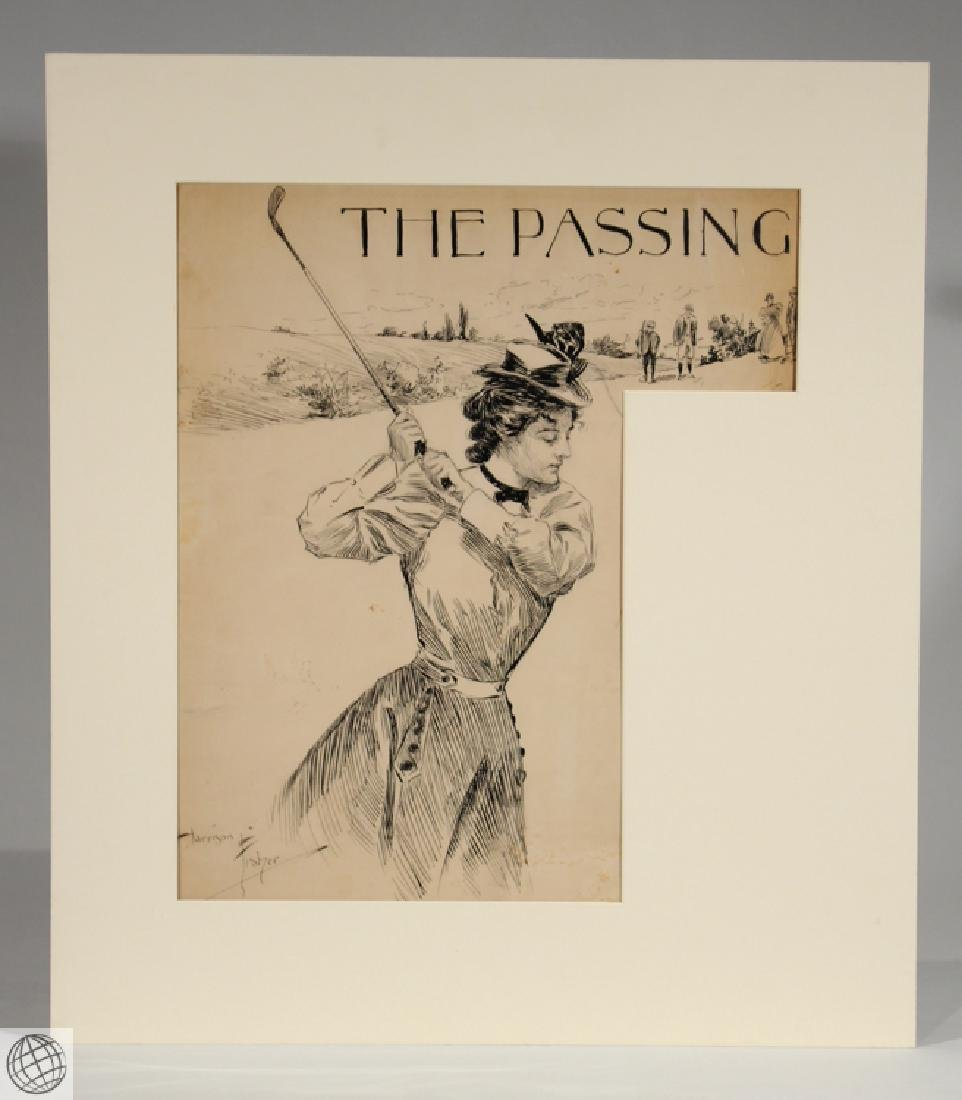 Passing HARRISON FISHER C1902 Pen Ink Illustration