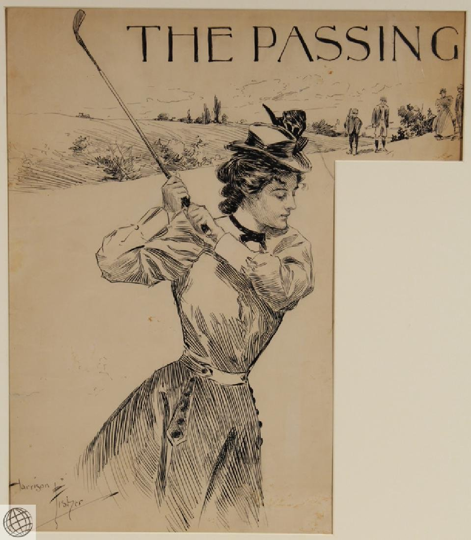 Passing HARRISON FISHER C1902 Pen Ink Illustration - 2