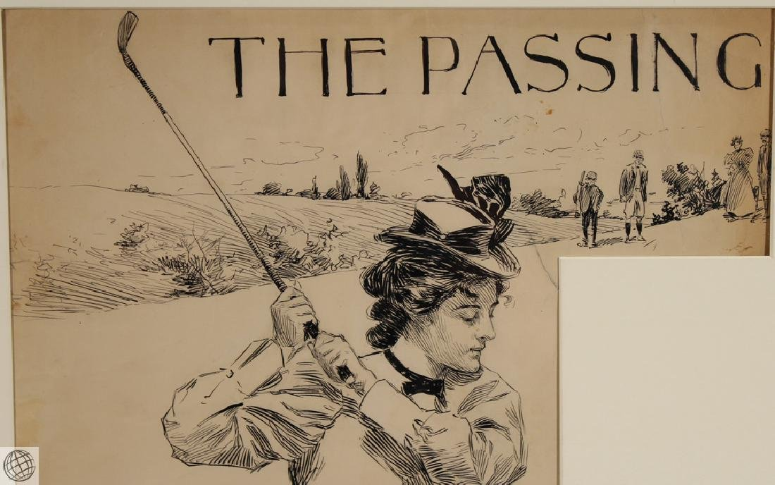 Passing HARRISON FISHER C1902 Pen Ink Illustration - 3
