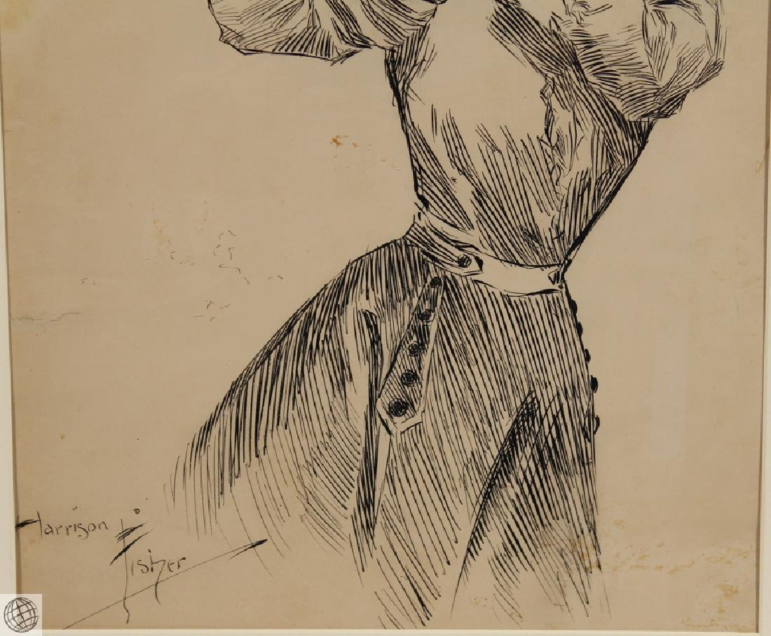 Passing HARRISON FISHER C1902 Pen Ink Illustration - 4