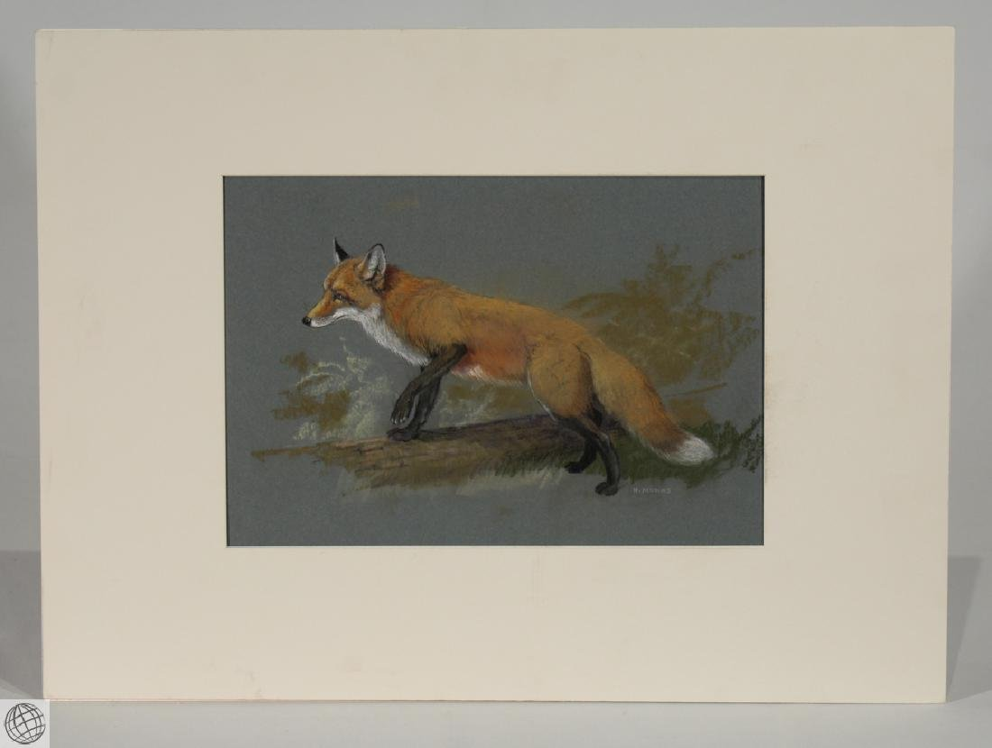 Red Fox HOWARD L. MUNNS Original Pastel Portrait 1971