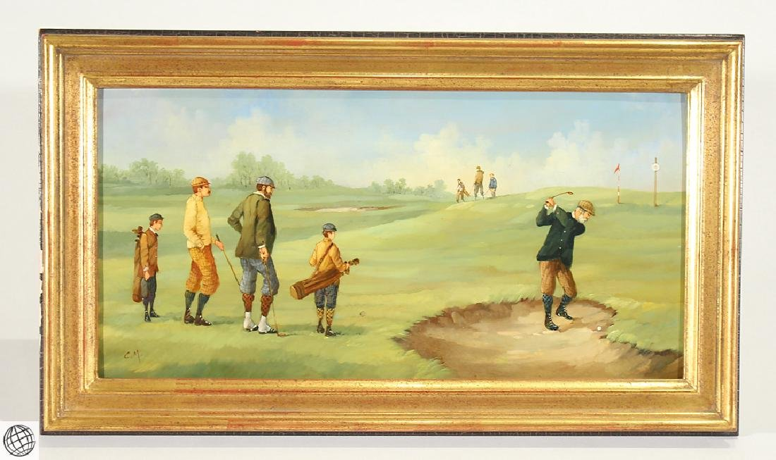 Edwardian Golfer MARCO CERI Oil Copper Painting