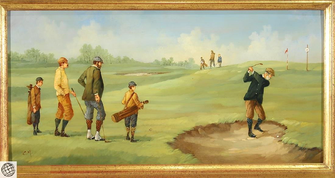 Edwardian Golfer MARCO CERI Oil Copper Painting - 2