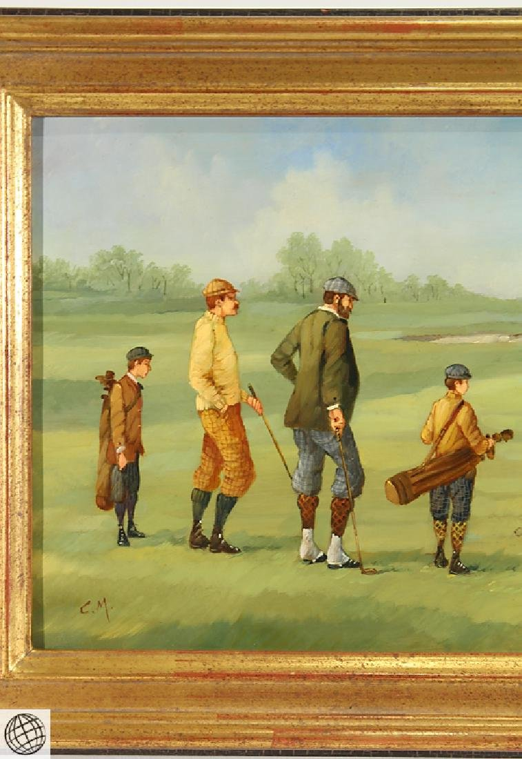 Edwardian Golfer MARCO CERI Oil Copper Painting - 3