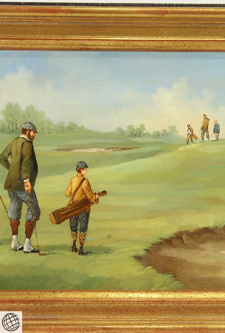 Edwardian Golfer MARCO CERI Oil Copper Painting - 4