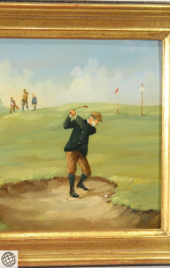 Edwardian Golfer MARCO CERI Oil Copper Painting - 5