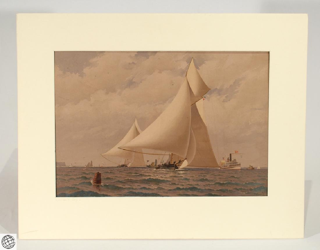 America's Cup FREDERIC S. COZZENS Color Lithograph