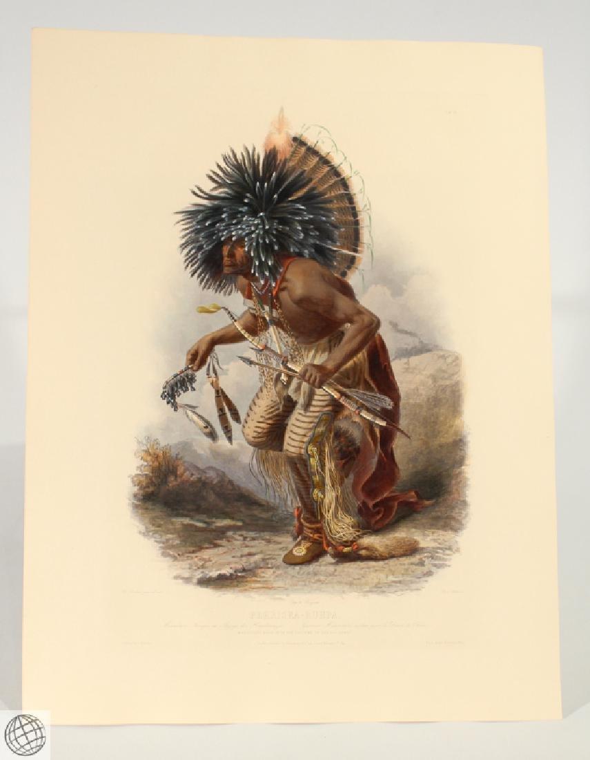 Moennitarri Warrior KARL BODMER Hand Colored Aquatint