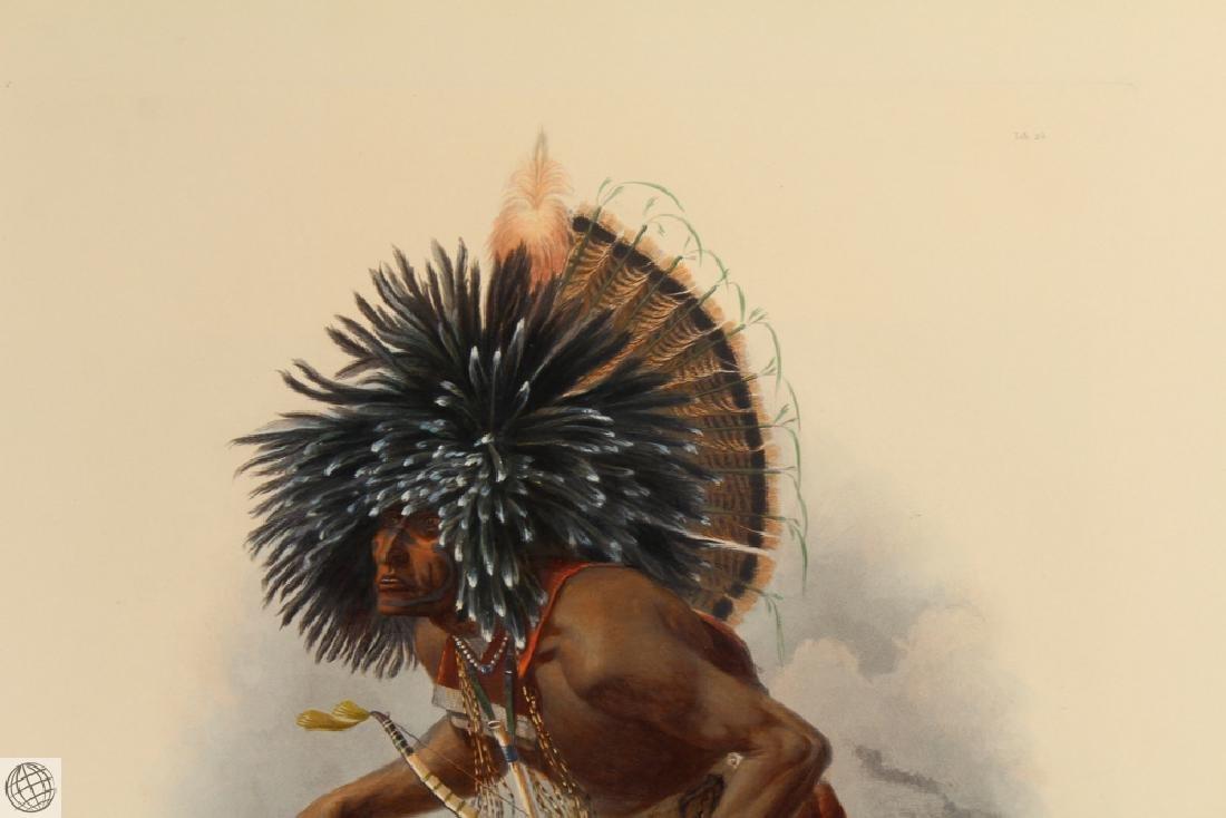 Moennitarri Warrior KARL BODMER Hand Colored Aquatint - 3