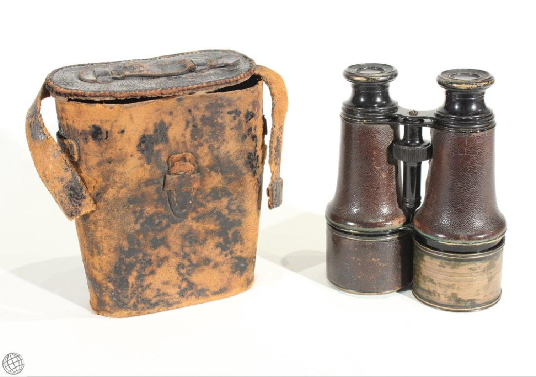 Antique CIVIL WAR BINOCULARS WITH CASE Lemaire Fabt
