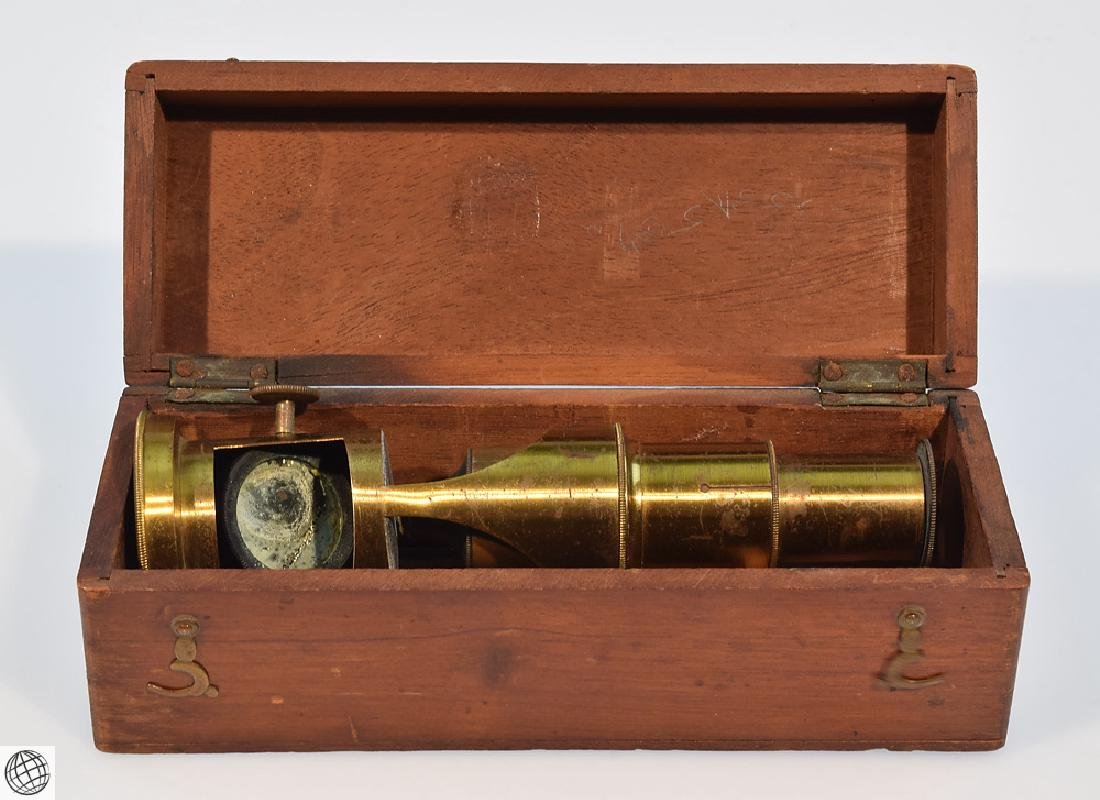 19th Century BRASS DRUM MICROSCOPE Field Mahogany Case